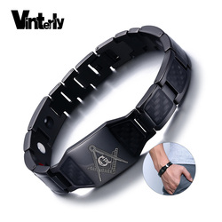 Vinterly Black Magnetic Bracelet Men Stainless Steel Hand Chain Masonic Punk ID Bracelets Carbon Fiber Magnet Health Bracelets