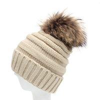 New Style Winter Warm Woolen Yarn Crochet Knitting Beanie Hats Unisex Solid Plicate Baggy Pom Pom
