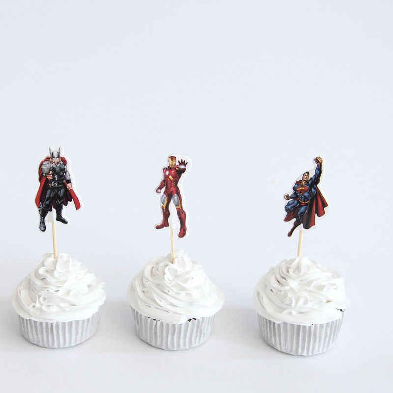 24 pçs/lote The Avengers Superman Heróis Tema Fontes Do Partido Dos Desenhos Animados Do Queque Topper Picaretas Crianças Decorações da Festa de Aniversário do Menino