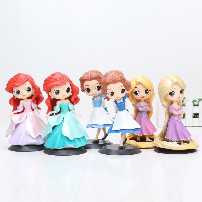 14cm Cartoon Q posket princess figure Toys Princess Tangled Rapunzel Little Mermaid Belle Country Style Ver