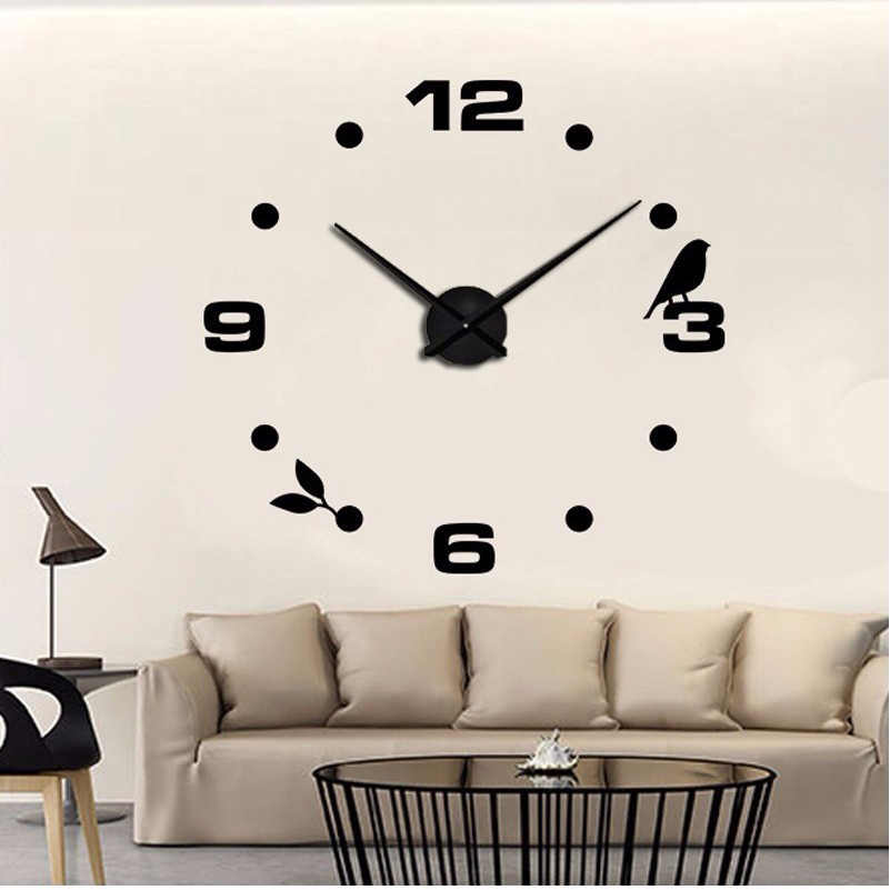 2019 Self Adhesive Wall Clocks Large Wall Clock Digital 3d Large Size Wall Clock Modern Style As Birthday Gift Free Shipping