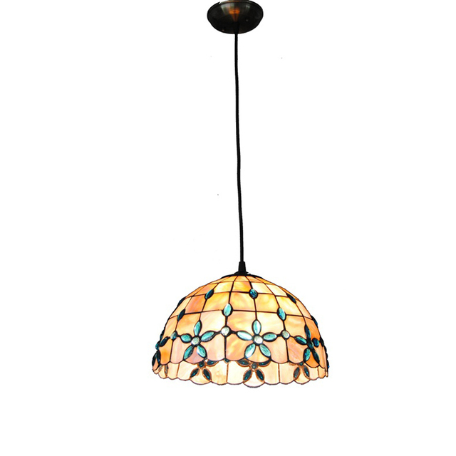 New E26 E27 Tiffany Shell Pendant Lamp European Retro Stained Glass Hanging Light Dining Room
