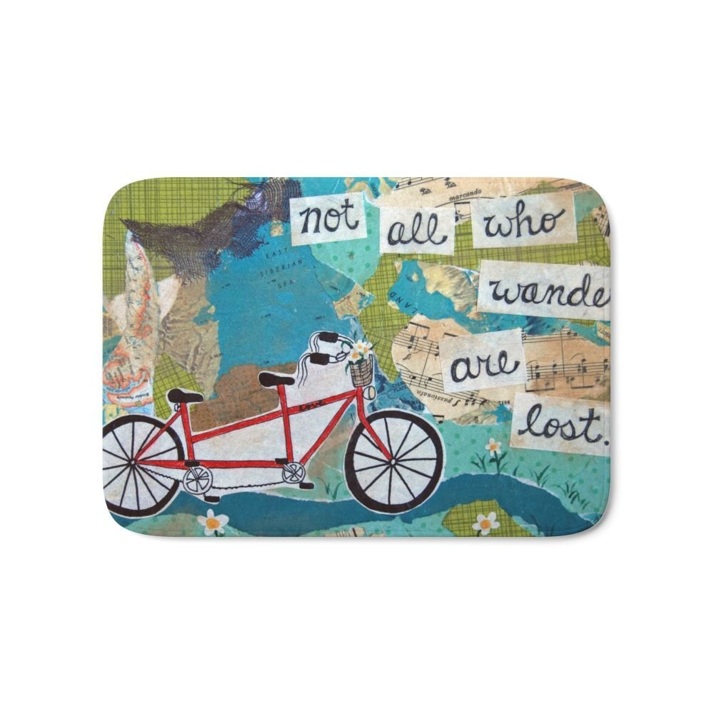 Not All Who Wander Are Lost - Red Tandem Bicycle Bath Mat 17 x 24 Pattern Coral Fleece Rug Anti-Slip Doormat Home Decor
