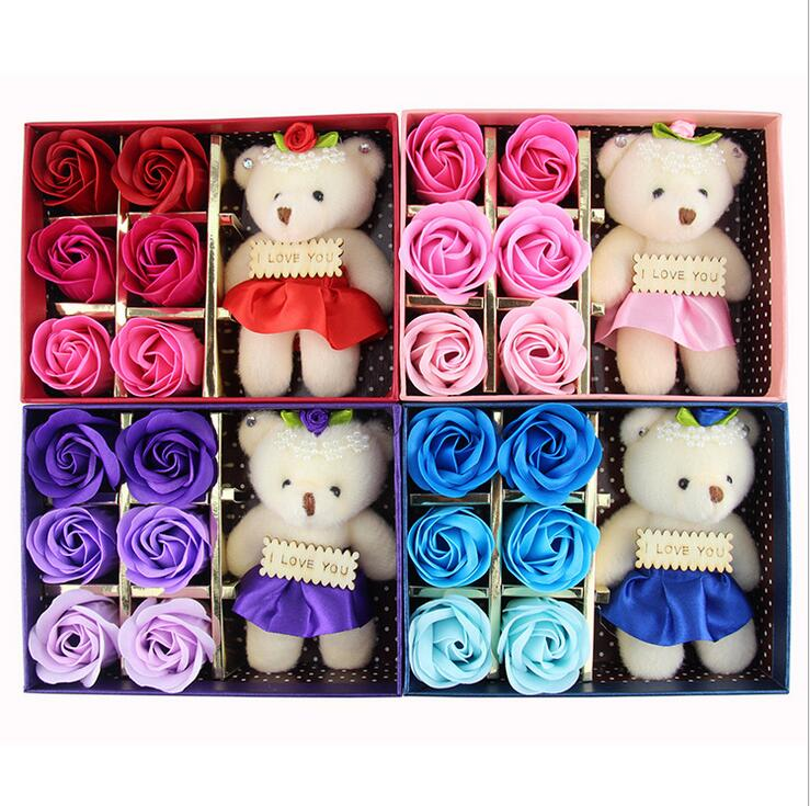 6Pcs/Box Romantic Rose Soap Flower With Little Cute Bear Doll, Great For Valentine's Day Gifts/ Wedding Gift/birthday Gifts
