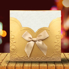 20pcs/lot Square Ribbon Invitations Cards Party Decoration Personalized Blessing Greeting Card Business Wedding Invitation simple elegant ribbon decoration invitation birthday business party wedding event invitation card 20pcs lot
