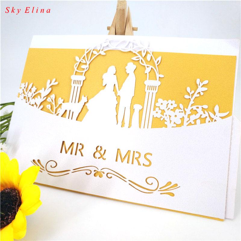 30pcs laser cut mr  mrs wedding invitation card wedding