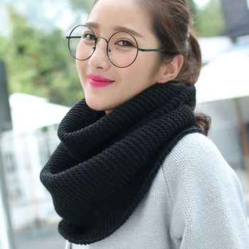 Ladies Girls Knitting Tube Scarf Thickened Warmer Ring Scarves Autumn Winter Scarf Women 2 Circle Cable Knit Long Ring Scarves knitting
