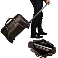 Модный Дорожный чемодан тележка из натуральной коровьей кожаный объемный мужской женский дорожная сумка в деловом стиле Дорожная сумка на