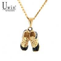 UWIN Hip Hop deportes zapatos colgante oro palteado Acero inoxidable Spikes Sneakers Rock Punk collar hombres mujeres joyería de moda