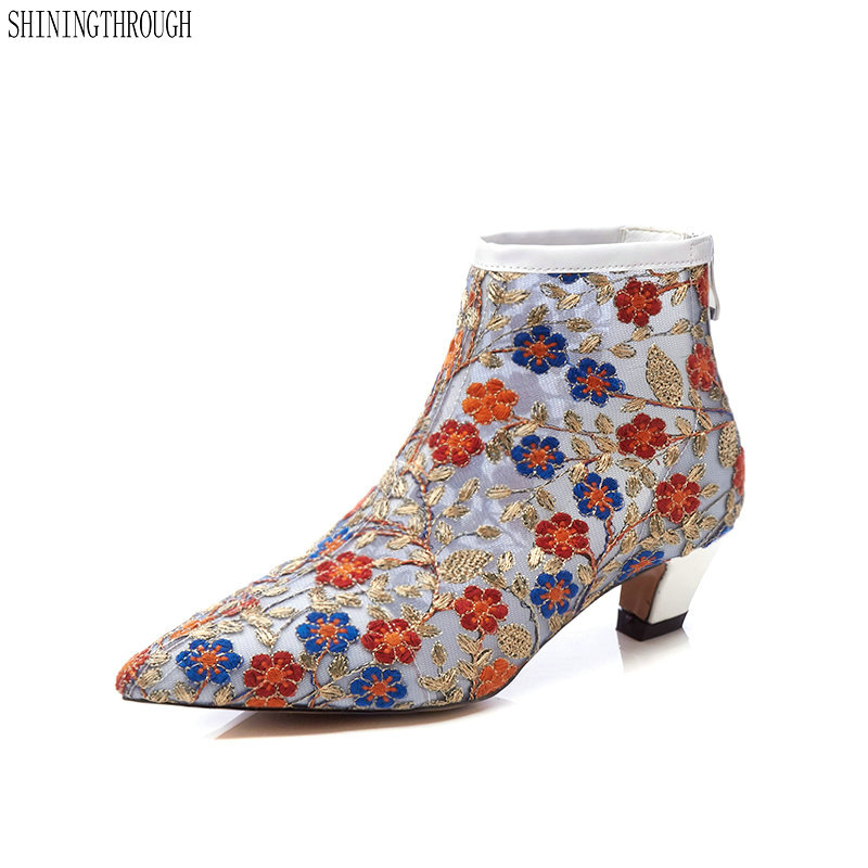 2019 New cut outs mesh flower women boots European American style summer ankle boots for women high heels sexy ladies shoes