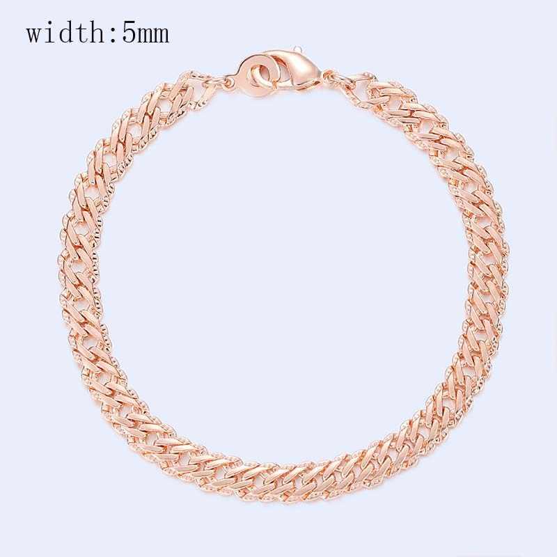 15 Stijl Kiezen Vrouwen Mannen Meisje 585 Rose Goud Kleur Curb/Weven Armbanden Kettingen Sieraden 18 Cm-23cm