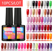 (Choose 10)ROSALIND 10ML Gel Nail Polish Set Fresh Color Soak off UV Nail Art Manicure Primer Nails Gel Polish Varnish Kit 3 pcs set kit lvmay brand painting gel polish nail art color 3d drawing paint curing lamp soak off professional nails top it off