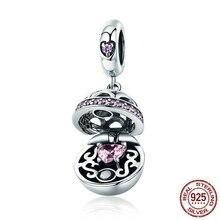 Original 925 Sterling Silver Love Gift Box Pink CZ Charm Pendants Fit Bracelet Necklace Jewelry Making CQC689
