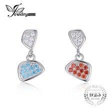 Jewelrypalace moda multicolor cubic zirconia gota cuelgan los pendientes de plata esterlina del sólido 925