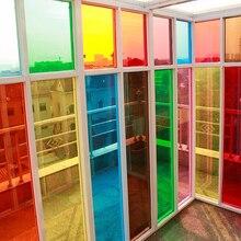 Модная Красочные Декоративные Оконные Пленки Низкая Отражательная Прозрачные Цветные Окна Оттенок Пленки для Окна Здания 1.52 м х 5 м