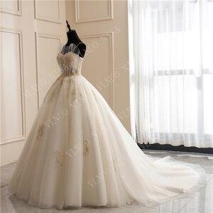 Image 4 - 8 層ファッションシンプルな白のウェディングドレスレースアップリケ真珠ビーズ格安 vestidos デ noiva ブライダルドレスボールガウン 65