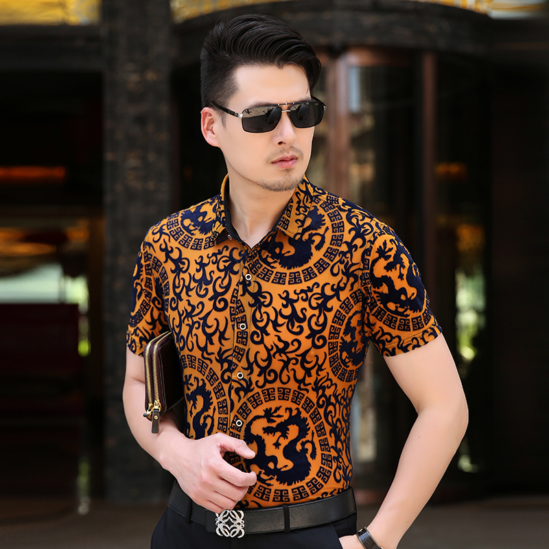 KUYOMENS Summer Men s shirts Short Sleeve Mens Dress Shirt Male Turndown Collar Camisa Slim Fit