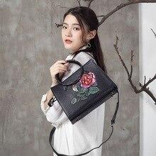 2017  Genuine Leather Ladines HandBag Female Classic Flowers Prints Vintage Shoulder Bags Women Handbags Crossbody Messenger Bag