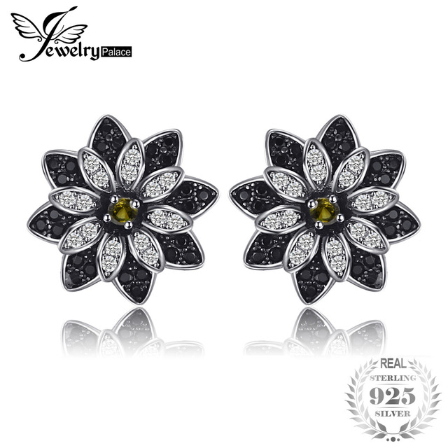 Jewelrypalace Flower Natural Taupe Smoky Quartz Black Spinel Stud Earrings 925 Sterling Silver Women Trendy Charm