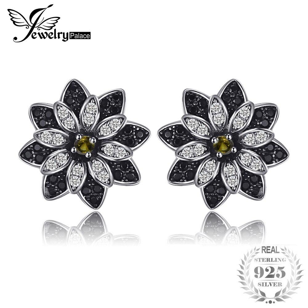 Jewelrypalace цветок натуральный темно-серый дымчатый кварц черной шпинели Серьги-гвоздики 925 серебро Для женщин Мода Шарм Красивые ювелирные изделия