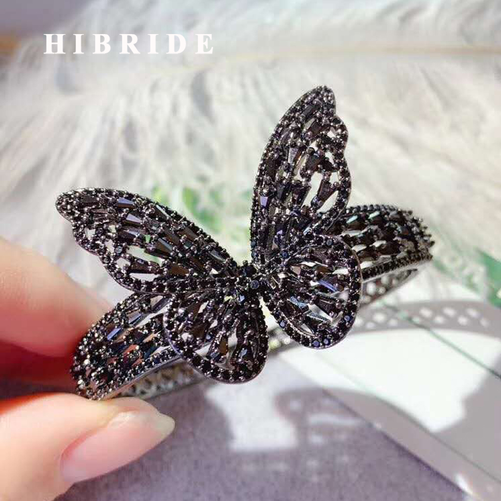 HIBRIDE Luxury Design Brillian Butterfly Design Cubic Zirconia Baguette Cuff Bangle&Bracelets Fashion Jewelry Bracelets B 143