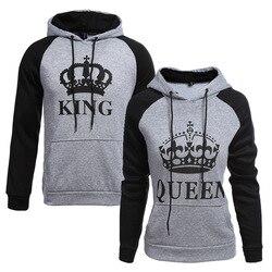 2018 KÖNIG Königin Crown Print Unisex Männer Frauen Herbst Hoodies Schlanke Sweatshirt für Paar Liebhaber Winter Patchwork Mit Kapuze Pullover