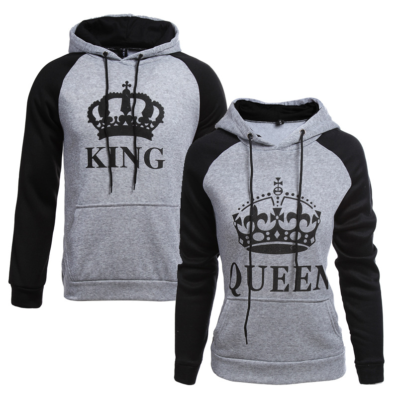 2018 KING Queen Crown Print Unisex Men Women Autumn Hoodies Slim Sweatshirt for Couple Lovers Winter Patchwork Hooded Pullovers