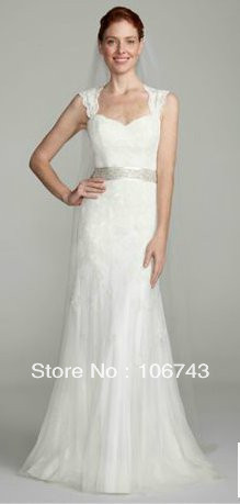 Us 149 0 2016 Real Gown Wedding Dresses Free Shipping David S Bridal Dress Cap Sleeve Trumpet With Keyhole Back Lace Sleeves In