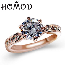 HOMOD 1.75ct AAA CZ Zircon Engagement Rings for women Rose Gold Color Wedding Rings Female Austrian Crystals Jewelry Drop Ship azora rose gold color austrian crystals water drop twining with leopard riband earrings and necklace jewelry sets tg0194