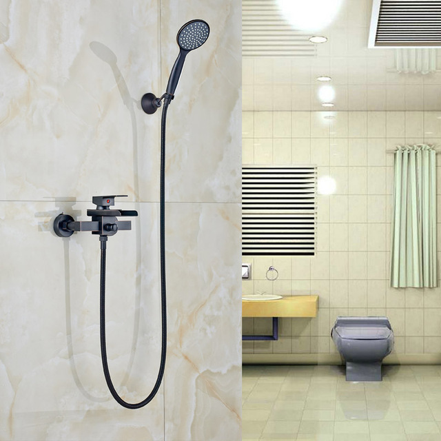 Modern Bathroom Waterfall Spout Tub Sink Faucet with Handheld Shower ...