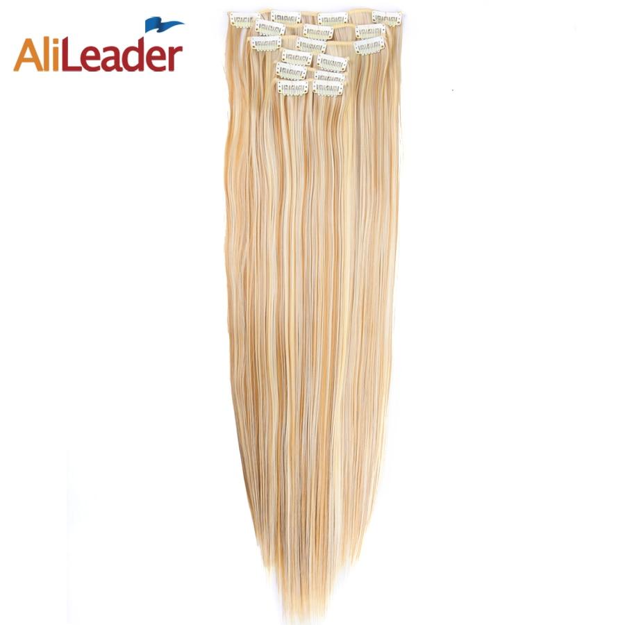 AliLeader Produits 6 Pcs/ensemble 16 Clips Clip En Extensions de Cheveux Blond 22 Pouce Longue Ligne Droite De Cheveux De Mariage Pièces Pour Femmes