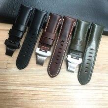 Ремешок для часов из натуральной кожи 24 мм черный коричневый