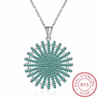 INALIS Popular 925 Sterling Silver Rely Tree Of Life Pendant Necklaces Clear Green CZ Women Fine