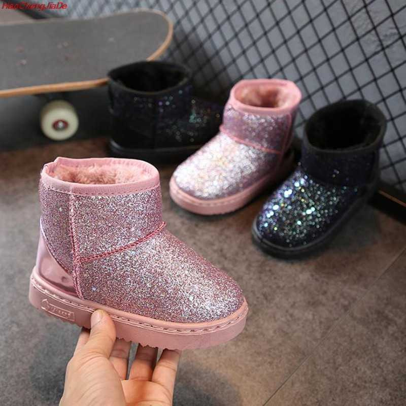 Children's snow boots girls fur boots baby cotton shoes sequins soft leather boots for girls party school wear boots