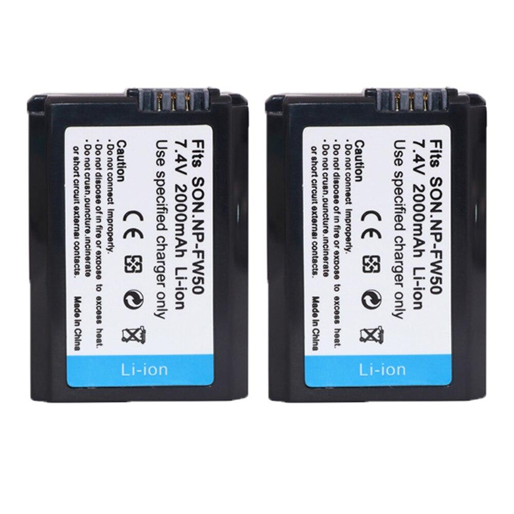 2Pcs 2000mAh NP-FW50 NP FW50 Camera Battery for Sony a5100 NEX5T NEX5R X-7 NEX6 NEX-5N NEX5C NEX3N NEX3CV a33 a35 a37 a55