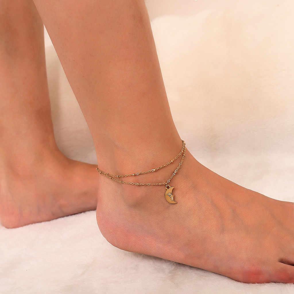 OTOKY アンクレットゴールドシルバームーン二重層女性アンクレットサンダル女の子足アンクレット女性の脚ブレスレット 19May25