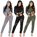 Casual Women Long Sleeve Hoodies Crop Tops And Long Pant Two Piece Sets Sexy women Tracksuit street sportswear sets on sale