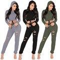 Mulheres casuais Longo Hoodies Tops de Culturas de Manga Longa E Calça conjuntos de duas Peças Define Sexy mulheres Agasalho sportswear rua em venda