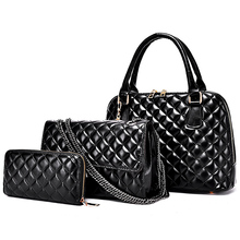 2016 Women Composite Bag Ladies Handbags Diamond Lattice Shoulder Bags 3 PCS Tote Bag+Messenger Bag+Clutch 6 Colour D60