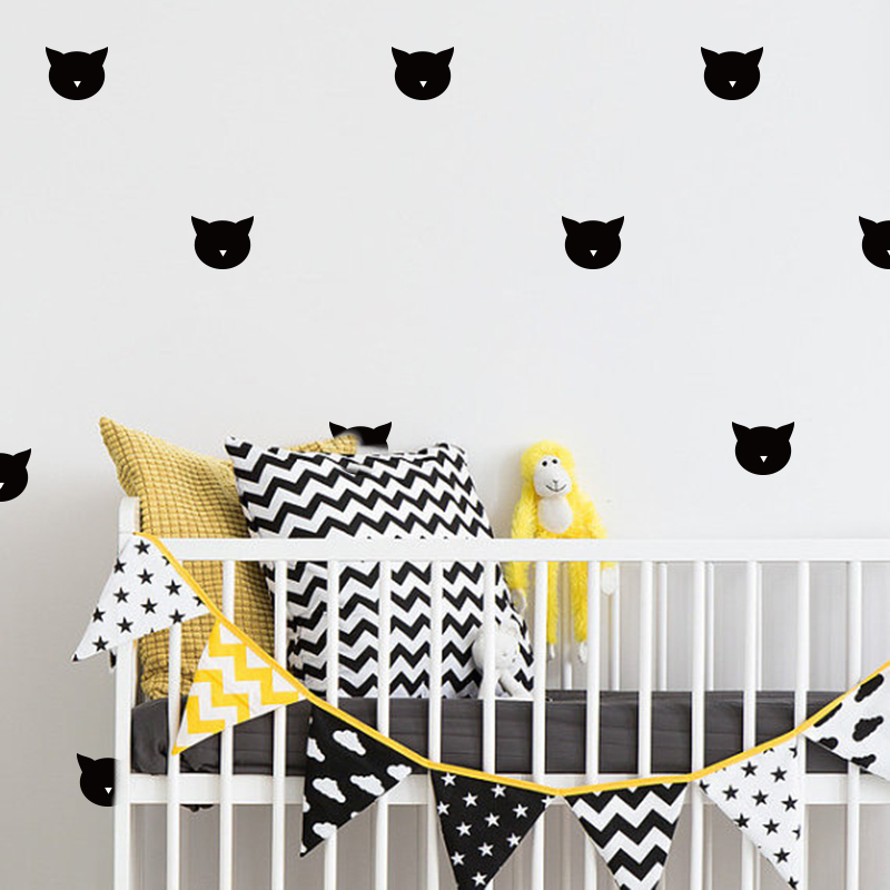 Lovely Cat Wall Uzlīmes Baby Nursery Cartoon Cat Wall Decals Bērnu - Mājas dekors