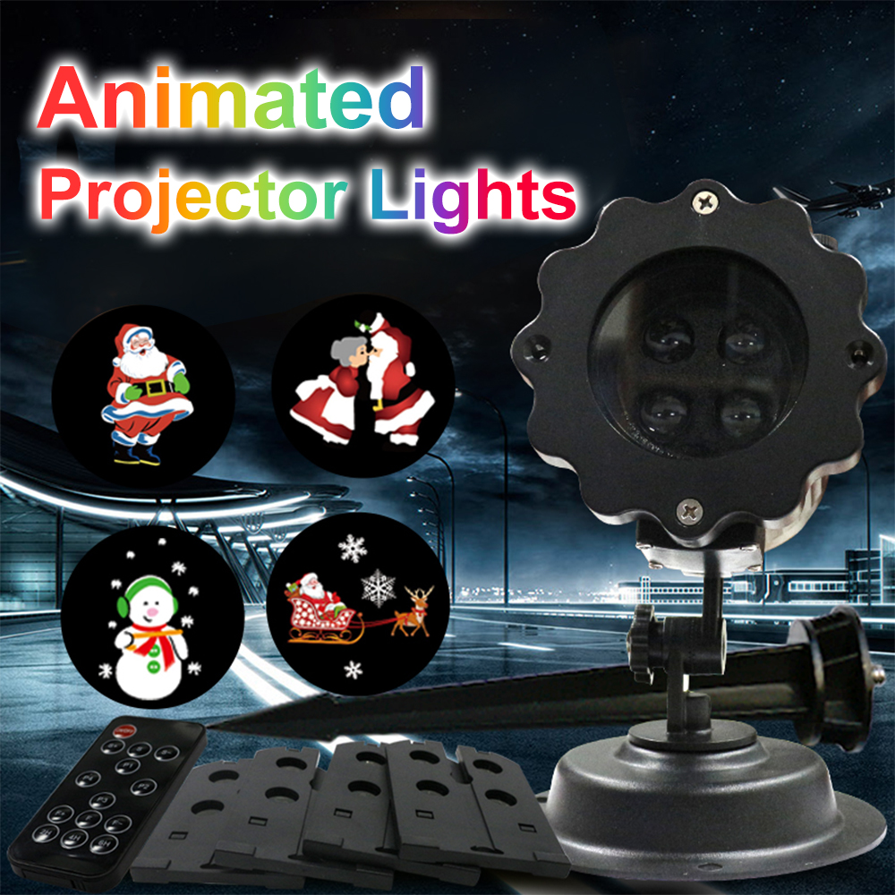 4pcs Film Cards Christmas Lights Waterproof LED Laser Snowflake Projector DJ Disco Light New Year's Decor For Home Garden