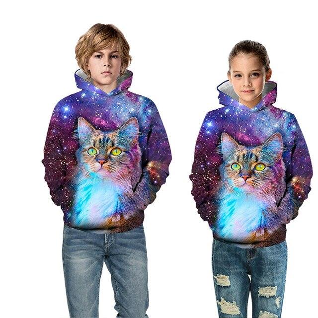 gran venta be7ba 38588 Raisevern niños moda 3D sudadera galaxia A Warrior Animal gato estampado  Hoodies polar dentro niño chica deporte Pullover Tops