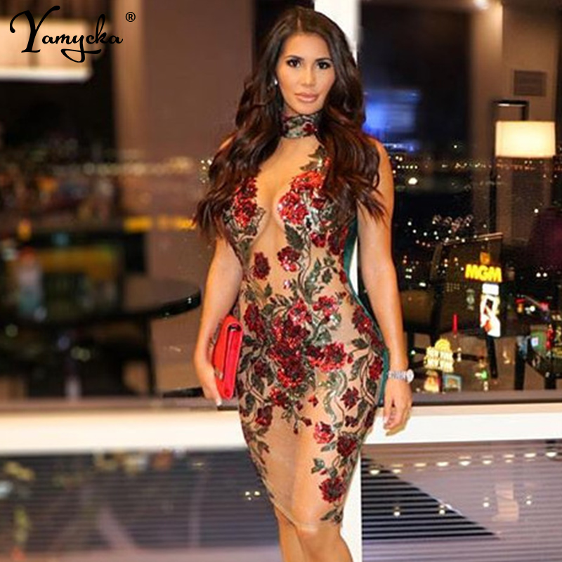 New Sexy Mesh Embroidery red Sequin Summer Dress Women Off Shoulder Perspective Luxury Night club bodycon Party Dresses vestidosDresses   -