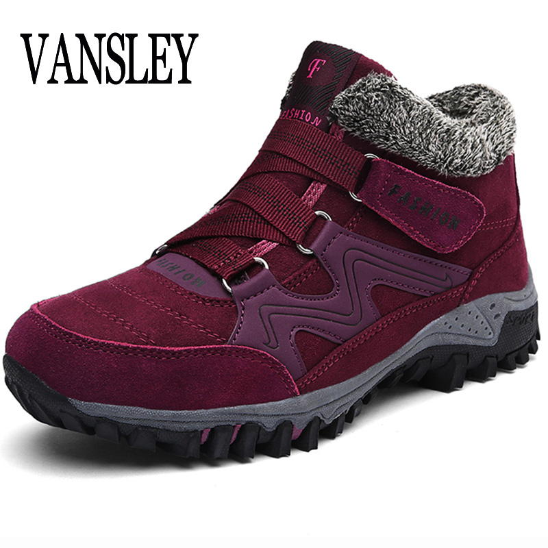 Women Snow Boots Winter Shoes Boots Ankle Ankleots Warm Plush Platform Ankle Boots Brand Female Wedge Snow Boots Waterproof platform bowkont flocking snow boots page 5