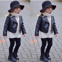 High quality Fashion Handsome Black Kids Baby Girl Boy Outwear Leather Coat Short Jacket Clothes Spring Autumn Winter Warm 1T-5T(China)