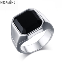 High Quality Men S Ring Black Agate High Polished Stainless Steel Men S Jewelry Silver Color