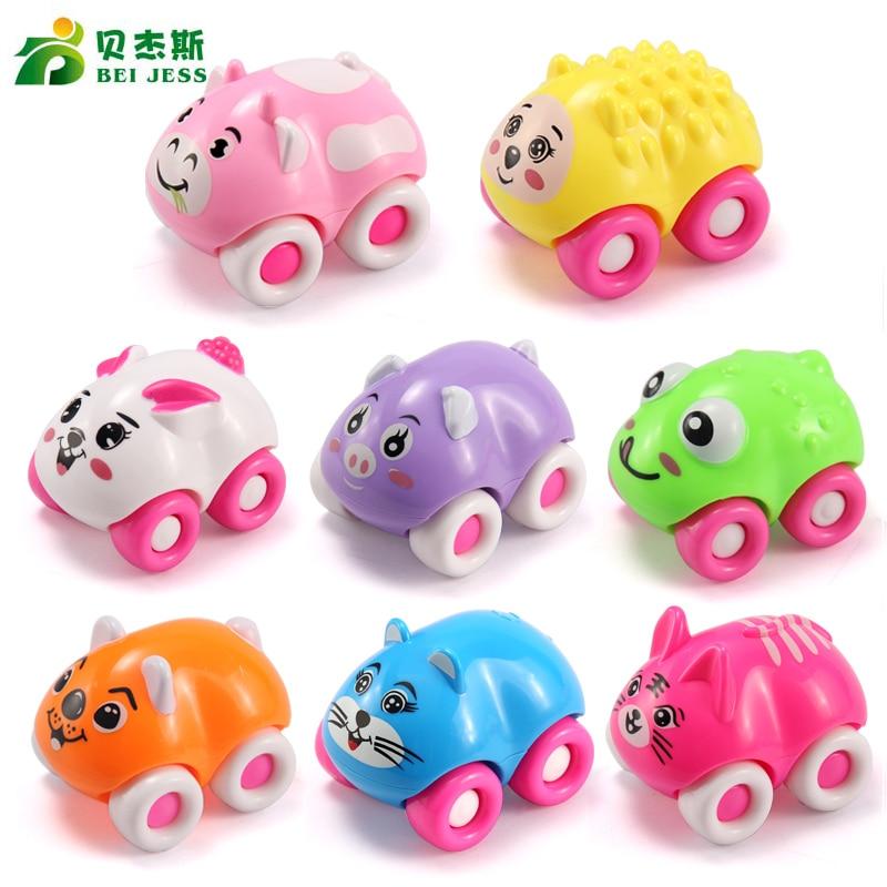BEI JESS 8Pcs / set Autók stílust DIY állati autók játék műanyag Diecasts modell push baby Toy Boys véletlenszerű szín Elküldött