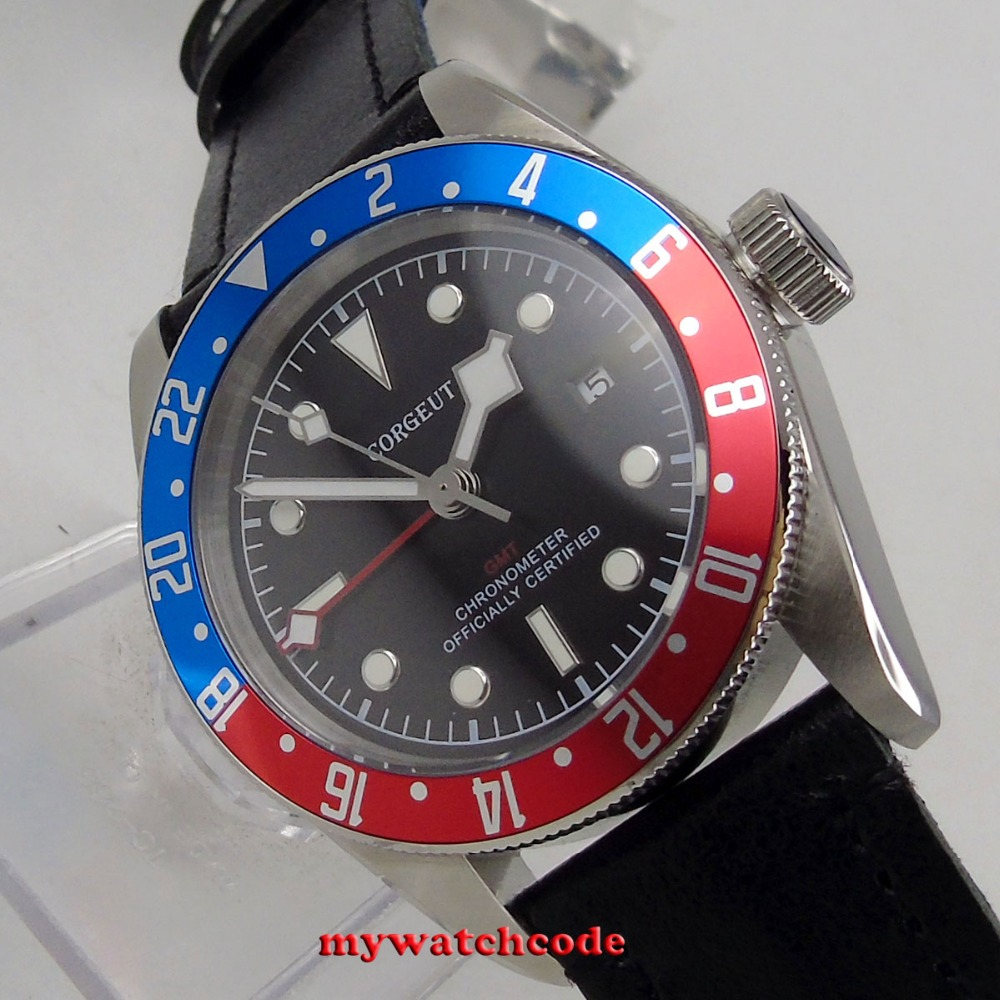 41mm corgeut black dial luminous marks GMT Sapphire Glass Automatic mens Watch цена и фото