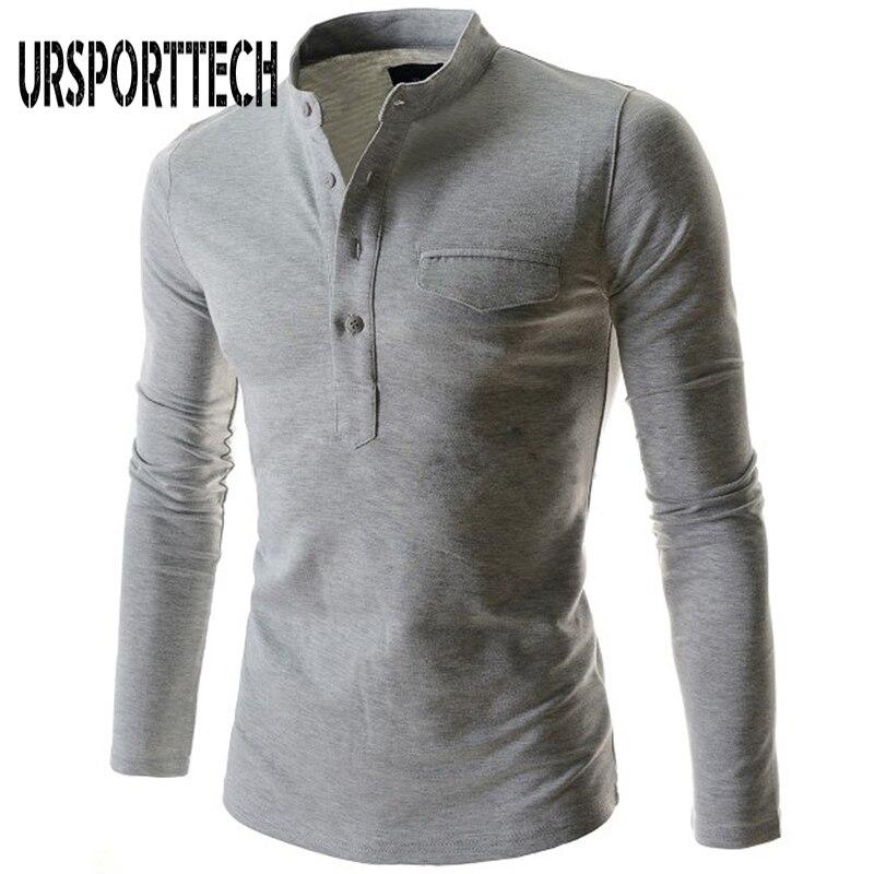 2018 Spring Autumn New Mens T Shirt Long Sleeve Mandarin Collar Gentlemen Tee Shirt Tops Casual Tees Large Size Menwear