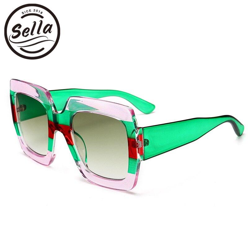 Sella 2018 nueva llegada de la manera hombres de las mujeres transparente multicolor Marcos cuadrado Gafas de sol tendencia marca de lujo diseñador Sol Gafas